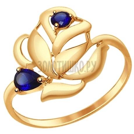 Кольцо из золота с корундами сапфировыми (синт.) 714687