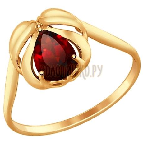 Кольцо из золота с гранатом 714702