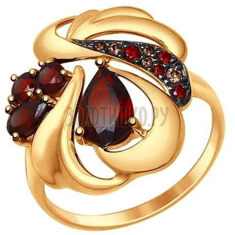 Кольцо из золота с гранатами и коричневыми и красными фианитами 714720