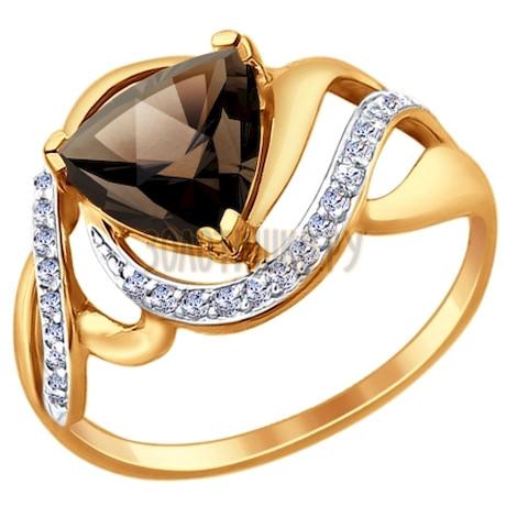 Кольцо из золота с раухтопазом и фианитами 714725