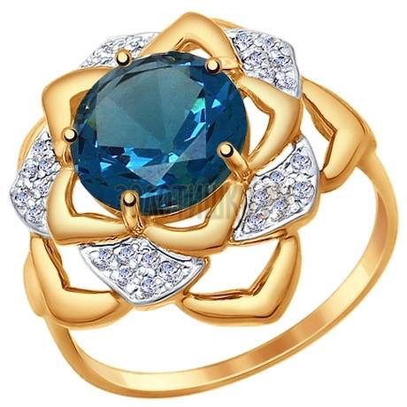 Кольцо из золота с синим ситаллом и фианитами 714746
