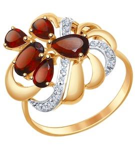 Кольцо из золота с гранатами и фианитами 714750