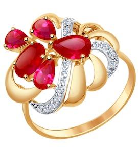 Кольцо из золота с красными корунд (синт.) и фианитами 714752