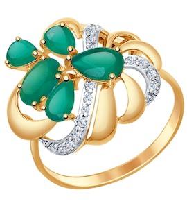 Кольцо из золота с агатами и фианитами 714753