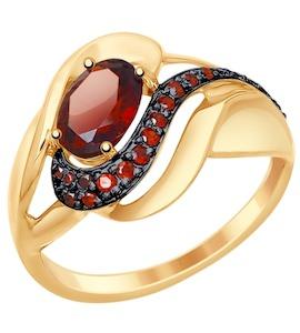 Кольцо из золота с гранатом и красными фианитами 714781