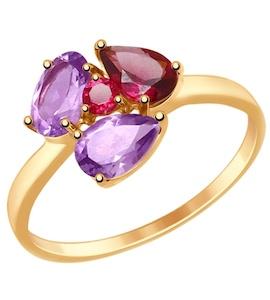 Кольцо из золота с полудрагоценными вставками 714817