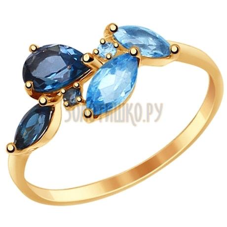 Кольцо из золота с голубыми и синими топазами 714820
