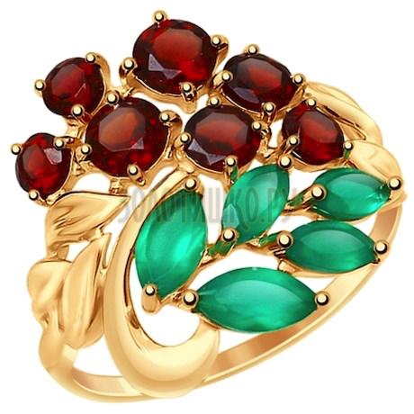 Кольцо из золота с полудрагоценными вставками 714822