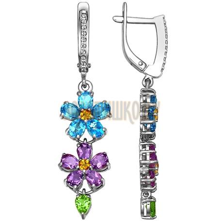 Длинные серьги с цветочной композицией из цветных камней 721980