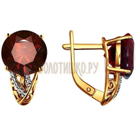Серьги из золота с гранатами и фианитами 723035