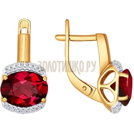 Серьги из золота с гранатами и фианитами 723407