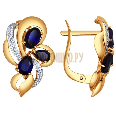 Серьги из золота с синими корунд (синт.) и фианитами 724995