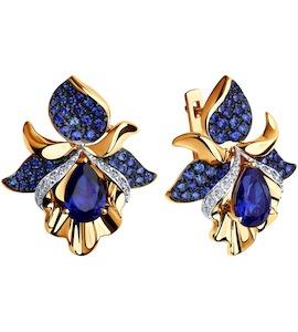 Серьги из золота с синими корундами (синт.) и бесцветными, голубыми и синими фианитами 725060