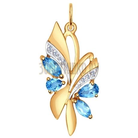 Подвеска из золота с голубыми топазами и фианитами 731512