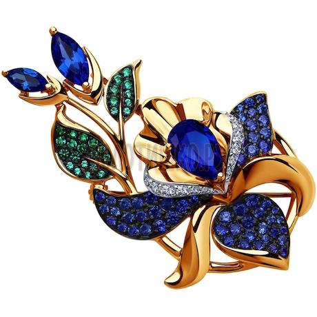 Подвеска из золота с синими корунд (синт.) и бесцветными, голубыми, зелеными и синими фианитами 731557