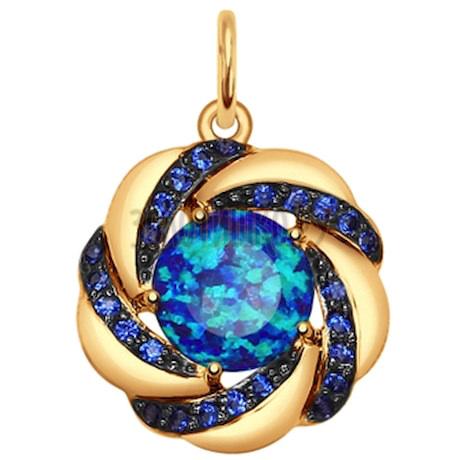 Подвеска из золота с синим опалом и синими фианитами 731583