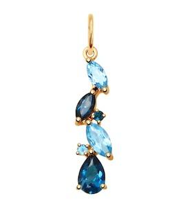 Подвеска из золота с голубыми и синими топазами 731603