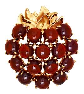 Брошь в форме ягоды с гранатами 740090