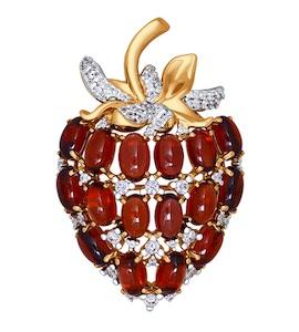 Брошь в форме ягоды из гранатов 740092