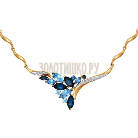 Колье из золота с голубыми и синими топазами и фианитами 770127