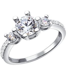 Белое кольцо с кристаллами Swarovski 81010050