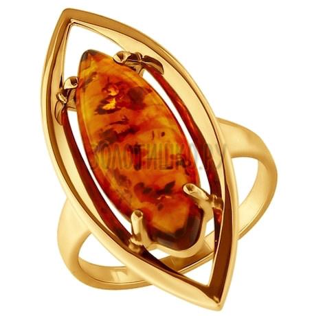 Кольцо из золочёного серебра с янтарём 83010036