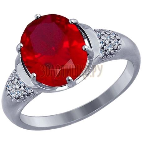 Кольцо из серебра с корундом рубиновым (синт.) и фианитами 84010004