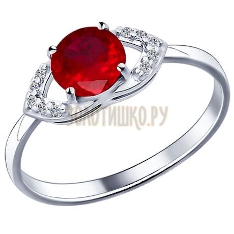Кольцо из серебра с корундом рубиновым (синт.) и фианитами 84010008