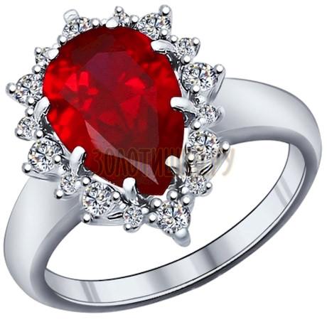 Кольцо из серебра с корундом рубиновым (синт.) и фианитами 84010014