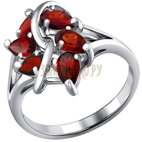Кольцо из серебра с гранатами 92010033