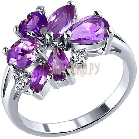 Серебряное кольцо с россыпью аметистов 92010039