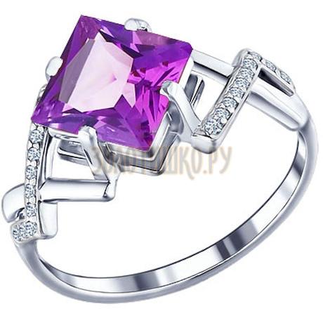 Кольцо из серебра с аметистом и фианитами 92010076