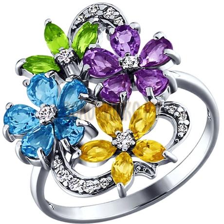 Кольцо с цветками из полудрагоценных камней 92010176