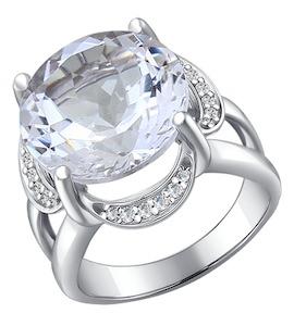 Серебряное кольцо с горным хрусталём 92010196