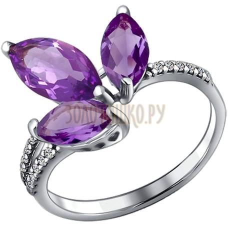 Кольцо из серебра с аметистами и фианитами 92010300