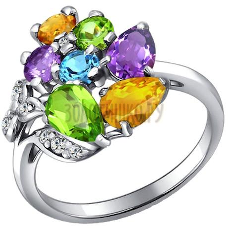 Кольцо из серебра с миксом камней 92010344