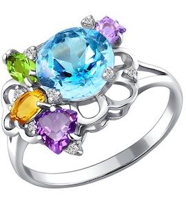 Кольцо из серебра с миксом камней 92010358