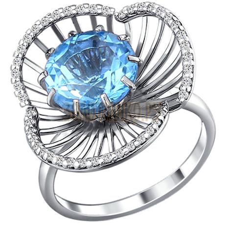 Кольцо из серебра с топазом и фианитами 92010409
