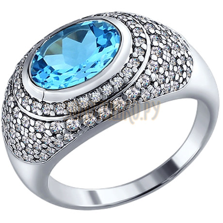 Кольцо из серебра с топазом и фианитами 92010463