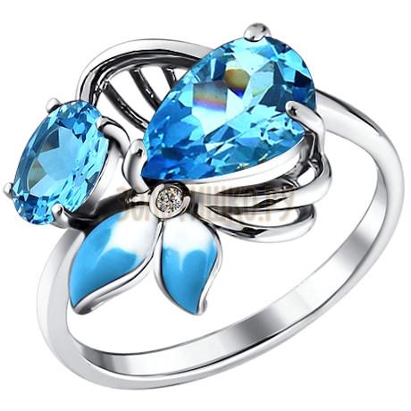 Кольцо с голубой эмалью и топазами 92010494