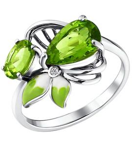 Кольцо - серебряный цветок с эмалью и хризолитами 92010496
