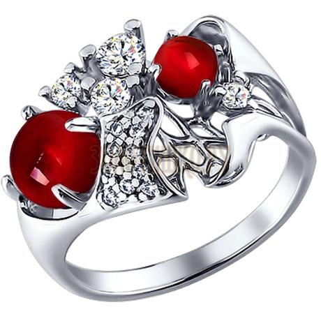 Кольцо из серебра с гранатами и фианитами 92010624
