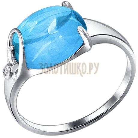 Кольцо из серебра с топазом и фианитом 92010832