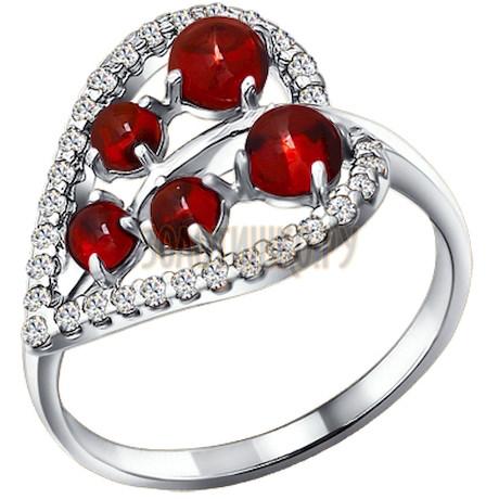 Кольцо из серебра с гранатами и фианитами 92010852