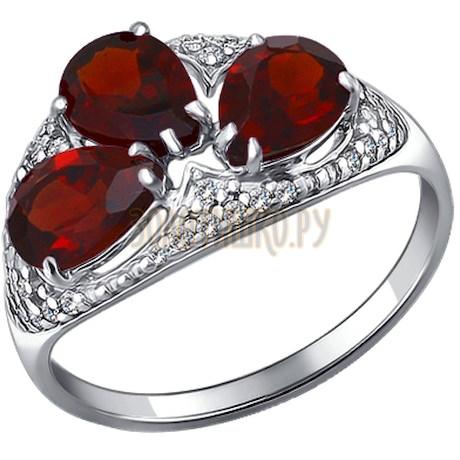 Кольцо из серебра с гранатами и фианитами 92010910