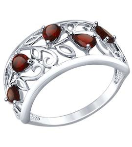 Кольцо из серебра с гранатами 92011376