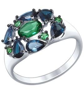 Кольцо из серебра с синими топазами и зелеными ситаллами 92011384