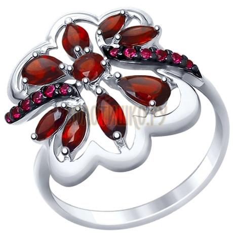 Кольцо из серебра с гранатами и красными фианитами 92011401