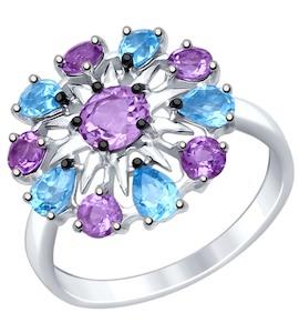 Кольцо из серебра с полудрагоценными вставками 92011410