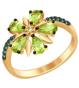 Кольцо из золочёного серебра с хризолитами и жёлтым и зелеными фианитами 92011415